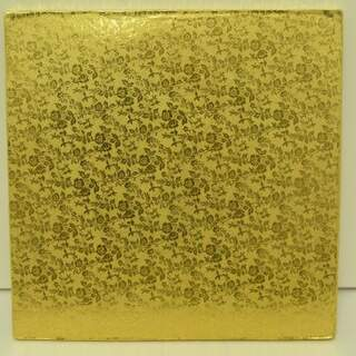 "10"" Square Gold Cake Drum"